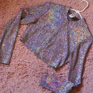 Silver Holographic Long Sleeve Crop Top